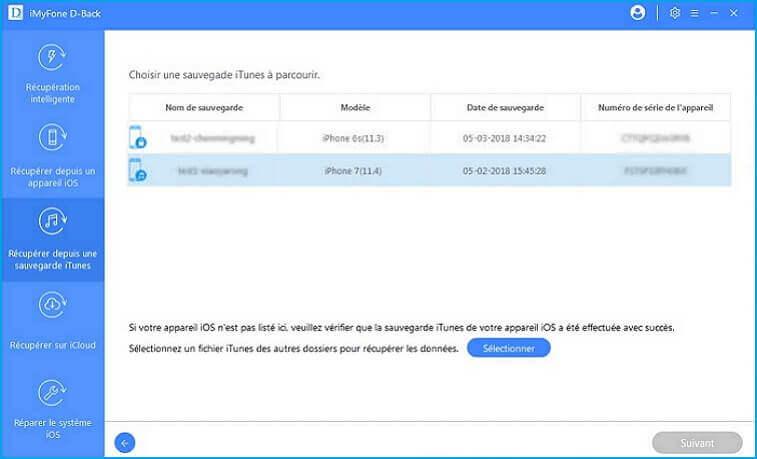 iMyFone D-Back sélectionner un autre fichier de sauvegarde iTunes