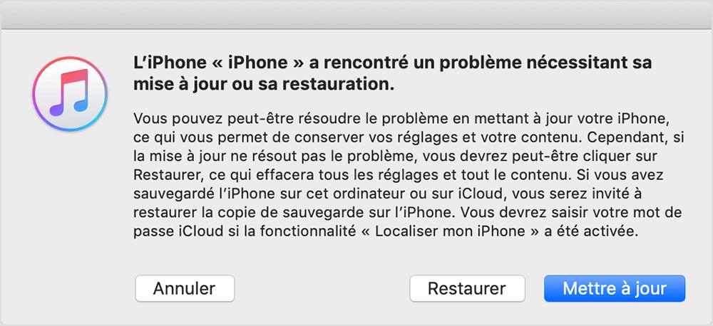 « Restaurer » ou de « Mettre à jour » votre iPhone