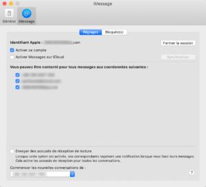 Mac Messages Préférences