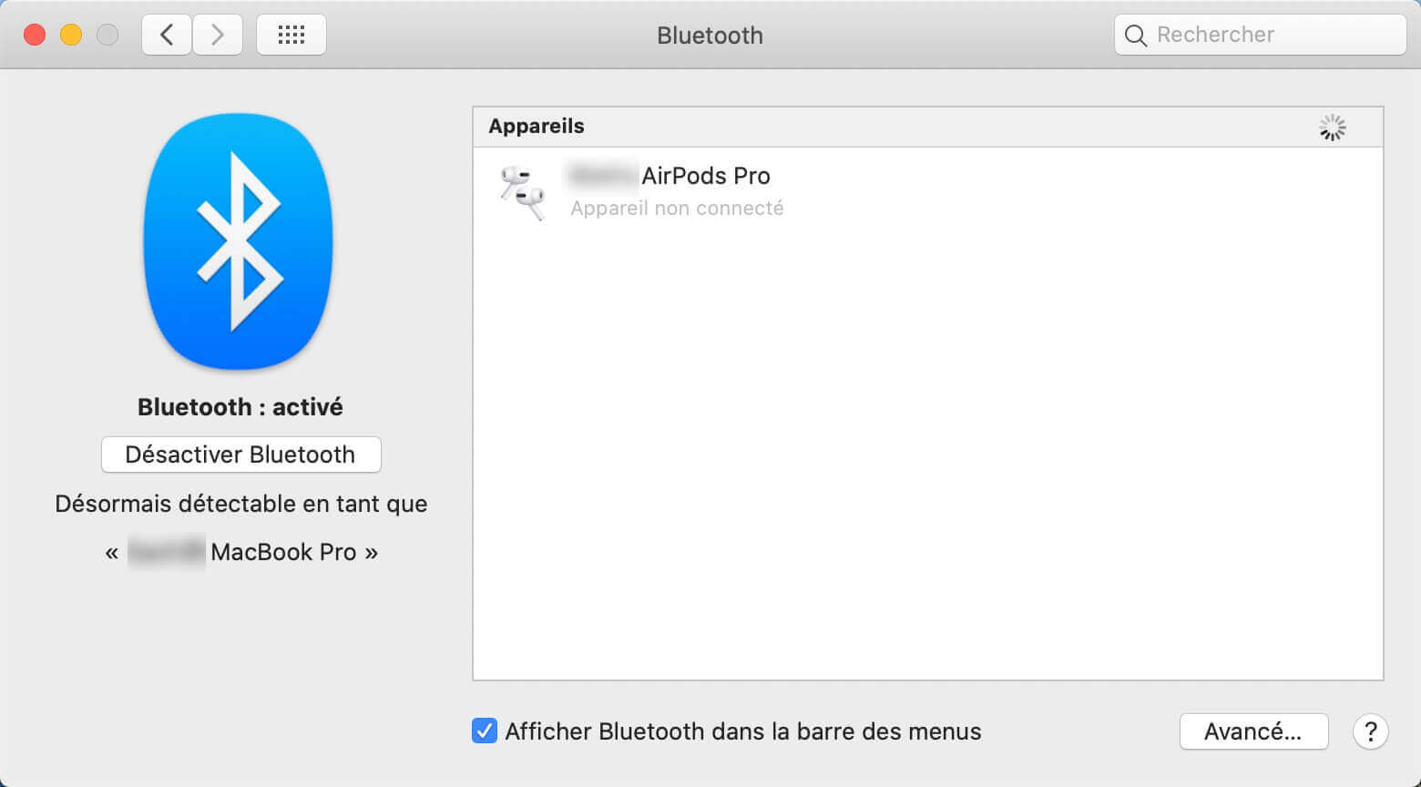 Préférences Système Bluetooth
