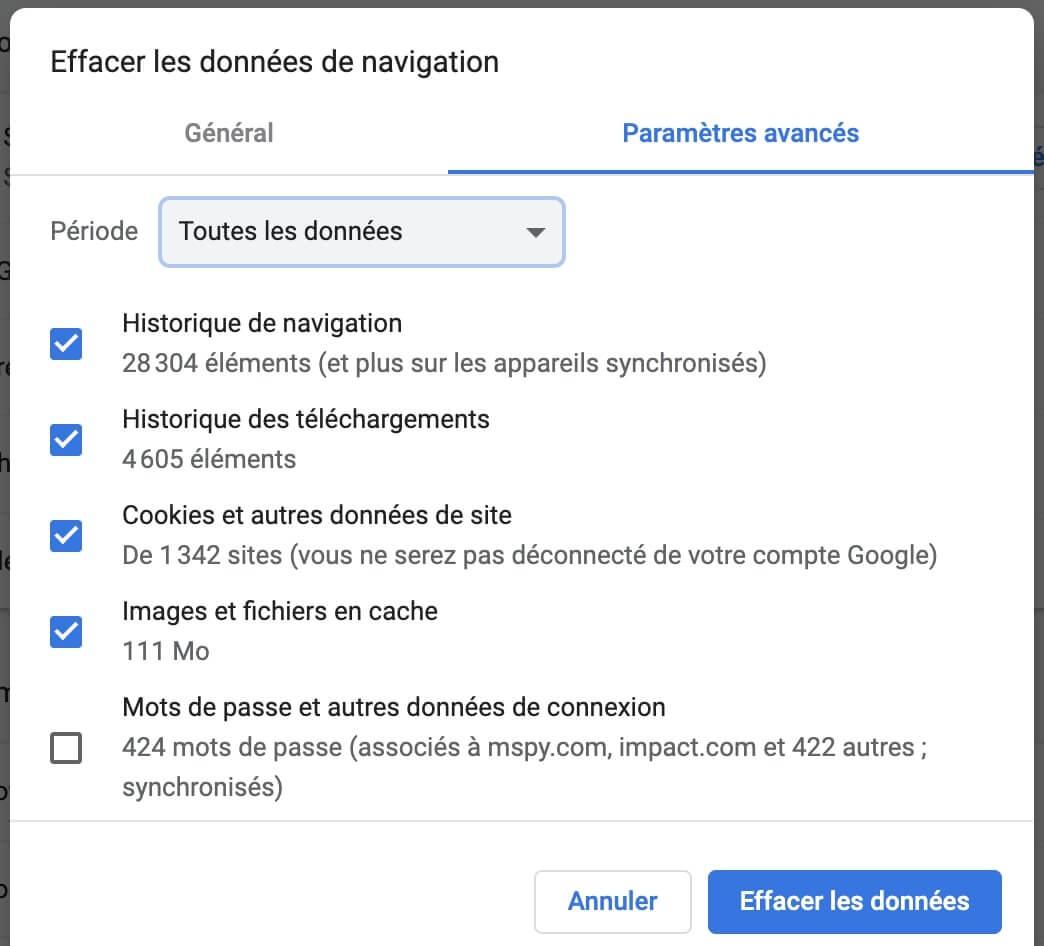 Comment nettoyer les caches et les cookies de Chrome sur Mac