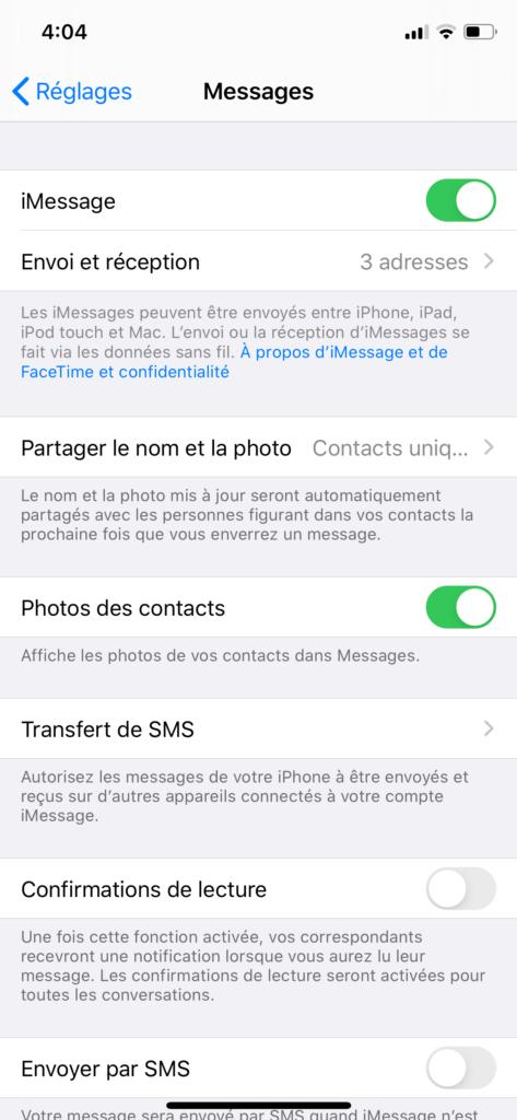 iPhone Réglages Messages