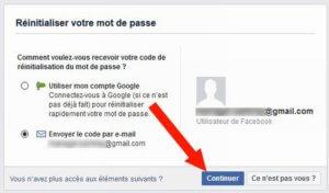 Facebook réinitialisant le mot de passe